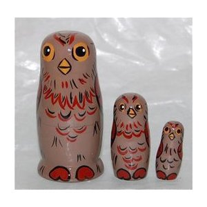 動物マトリョーシカ  森のフクロウ 3個組6.5cm ruinok-2