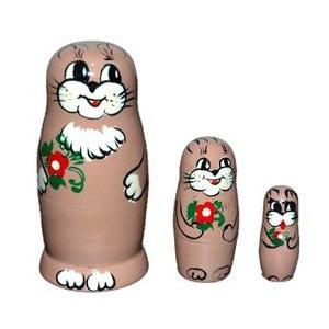 動物マトリョーシカ  ネコ 3個組6.5cm ruinok-2