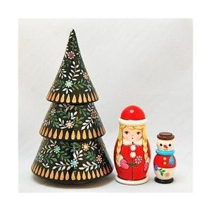 ショコラ工房 マトリョーシカ型置物シリーズ「Tiny tree(タイニーツリー)」3個組 グリーン ruinok-2