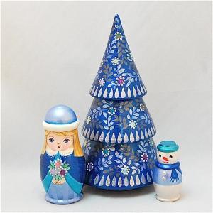 ショコラ工房 マトリョーシカ型置物シリーズ「Tiny tree(タイニーツリー)」3個組 メタルブルー ruinok-2
