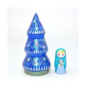 ショコラ工房 マトリョーシカ型置物シリーズ「Tiny tree(タイニーツリー)2個組」ブルー ruinok-2