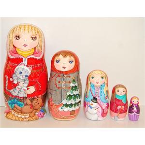 ショコラ工房のマトリョーシカ 『White Christmas(ホワイトクリスマス)』 5個組16cm ruinok-2