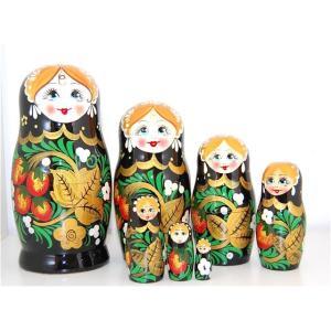 ゴージャスホフロマ柄 黒いちごマトリョーシカ  7個組 ruinok-2