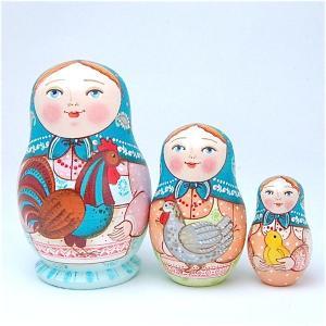 「鶏を抱く少女たち  青頭巾」ふっくら型 8.5cm 3個組 作家 エレーナ・イワンツォヴァ|ruinok-2