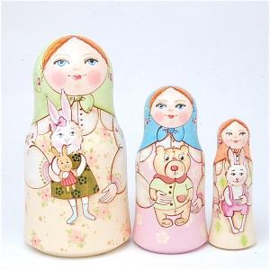 「大好きなおもちゃ うさぎ」スタンド型 11cm  3個組 作家 エレーナ・イワンツォヴァ|ruinok-2