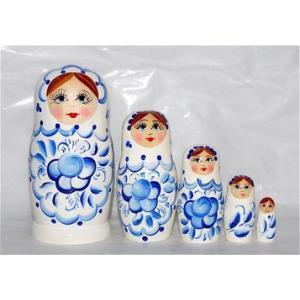 マトリョーシカ 11cm 5個組 「グジェリ柄・白」 ruinok-2