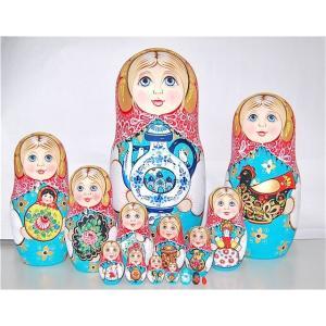 セルゲイ・コブロフ工房 「ロシア民芸品を持つ少女のマトリョーシカ」特大35cm15個組  作家 オリガ・ジューコヴァ|ruinok-2