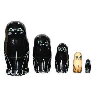黒猫マトリョーシカ 5個組 ruinok-2