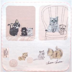 泉州タオル ガーゼ無撚糸 シンジカトウchaton 100匹の猫たちの物語「マザーキッズ」 23×23 |ruinok-2