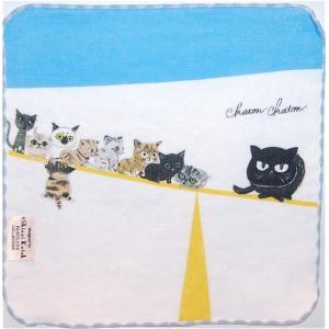 泉州タオル ガーゼ無撚糸 シンジカトウchaton 100匹の猫たちの物語「バランス」 23×23 |ruinok-2