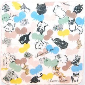 泉州タオル ガーゼ無撚糸 シンジカトウchaton 100匹の猫たちの物語「バタフライ」 23×23 |ruinok-2