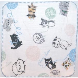 泉州タオル ガーゼ無撚糸 シンジカトウchaton 100匹の猫たちの物語「ウールヤーン」 23×23 |ruinok-2