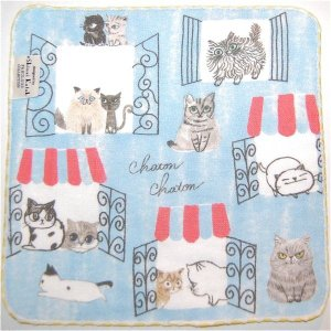 泉州タオル ガーゼ無撚糸 シンジカトウchaton 100匹の猫たちの物語「アパートメント」 23×23 |ruinok-2