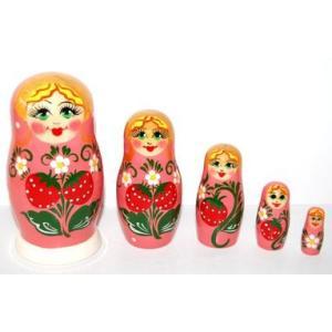 いちごマトリョーシカ 5人姉妹 「ワイルドストロベリー (PINK)」 ruinok-2