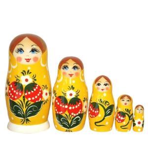 いちごマトリョーシカ 5人姉妹 「ワイルドストロベリー (YELLOW)」 ruinok-2
