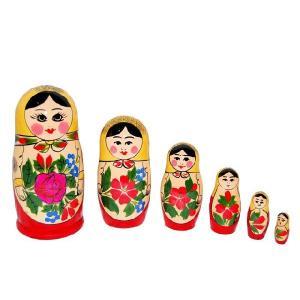 ロシア伝統柄のマトリョーシカ ロシヤーノチカ 6個組 黄色頭巾|ruinok-2
