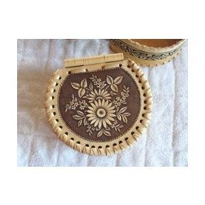 白樺の皮ベレスタで作った箱 重厚縁かがり半円形 花 ruinok-2