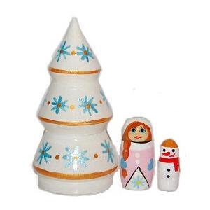 ホワイトクリスマスツリー 女の子と雪だるま(フラワー)マトリョーシカ 3個組 ruinok-2