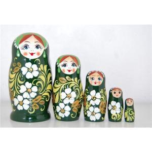 マトリョーシカ 5個組 (緑のホフロマ柄)|ruinok-2