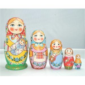 セルギエフ・ポサード マトリョーシカ マムカ 赤ちゃんを抱く家族 イヴァンツォヴァ作 5個組 16cm|ruinok-2