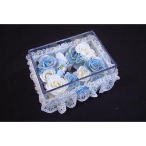 お花のティッシュケース(小)ブルー|rukashow