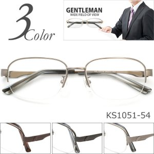 メガネ 度付き GENTLEMAN KS1051-54 ハーフリム(ナイロール) 眼鏡 メガネ フレーム (近視・遠視・乱視・老視に対応)メガネ通販セット rule