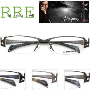 メガネ 度付き 鼻パッド付 NDS0029 54サイズ ハーフリム(ナイロール)(近視・遠視・乱視・老視に対応)