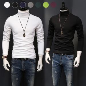 商品名:長袖Tシャツ メンズ インナー トップス Tシャツ カットソー 長袖 無地 タートルネック ...