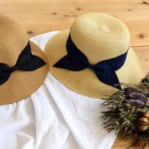 帽子 レディース 麦わら帽子 ポリブレードラウンドハット リボン ベージュ ブラウン 春夏|rumsee