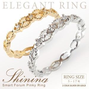 リング 指輪 3連 デザイン 極細 レディース ピンキーリング|rumsee