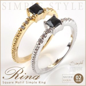 【在庫限り!残りわずか】リング 指輪 ピンキーリング スクエア デザイン ブラック レディース 気品漂う|rumsee