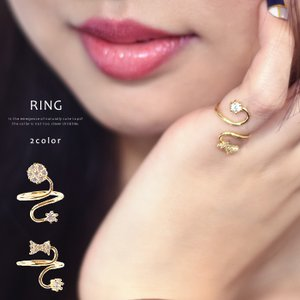 リング レディース 指輪 ビジュー ファッション ツイスト 調節可能 リボン フラワー フォルム 女性らしい 合金|rumsee
