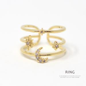 指輪 オープンリング レディース 3連 ゴールド 月 星|rumsee