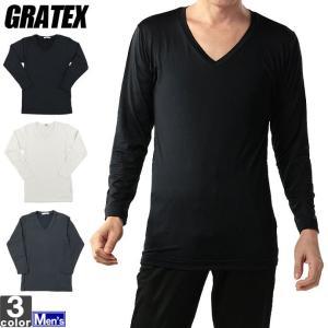 長袖Tシャツ グラテックス GRATEX メンズ 裏ピーチ起毛 長袖 Vネック 12102 1711 インナー 裏起毛 防寒|runningclub-gh
