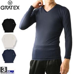 インナー グラテックス GRATEX メンズ 3322 冷感 コンプレッション 長袖 Vネック 1905 アンダーウェア|runningclub-gh