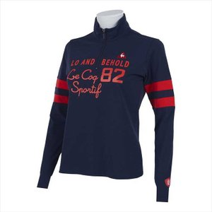 Le coq sportif GOLF レディス ハイブリットソロ鹿の子長袖ハーフZIPシャツ QGWPJB02 NV00 2102 レディース ルコックゴルフ|runningclub-gh