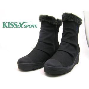 ●大好評の[KISSA]ファー付きの可愛いブーツ★キサスポーツ/8471 BK/5.5cmヒールの可愛いブーツ/送料無料|runrunskip
