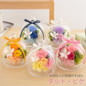 プリザーブドフラワー 誕生日 タルト・ビケ ガラスドーム 結婚祝い 結婚記念日 プリザードフラワー ...