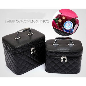 NOMIRRA メイクボックス 化粧箱 化粧ポーチ 鏡付き 持ち運び メイクBOX メイクアップ トラベルバッグ 大小2点セット PU|rurubunndo