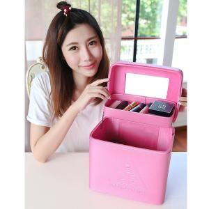3CE メイクボックス 化粧箱 化粧ポーチ 鏡付き 持ち運びメイクBOX メイクアップ トラベルバッグ 大型 ポータブル PU|rurubunndo