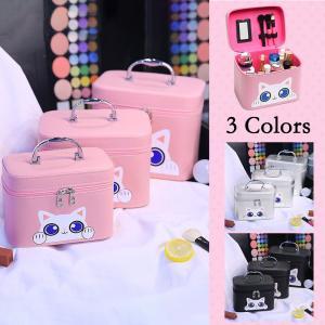 3色メイクボックス コスメボックス 鏡付き 雑貨 小物入れ 持ち運び可 ネイル プロ 美容 大容量 アクセサリー 収納 化粧品 防水 ジュエリーボックス|rurubunndo