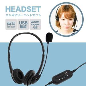 ヘッドセット 両耳 ヘッドホン マイク マイク付き USB USB接続 テレワーク ZOOM スカイ...