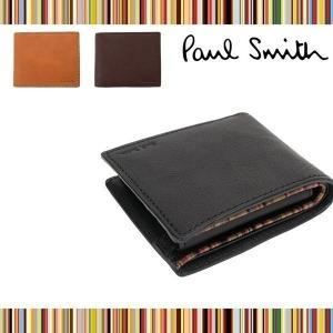 ポールスミス 財布 折財布 二つ折り財布 Paul Smith ナチュラルグレイン PSY565 牛革 レザー タンニン なめし|rush-mall