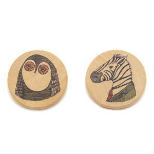 木製ブローチ フクロウ&シマウマ 【バッジ アクセサリー 北欧 スペイン イラスト アート インテリア】 ruskea