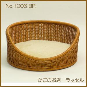 【当店オリジナル】自然素材の「籐」で手作り。小型犬用・猫用のペットベッド 1006茶色...