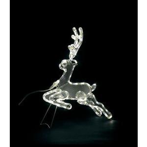 電飾 耐水65cmLEDホワイト立体ジャンピングレインディア...