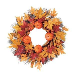 ハロウィン装飾 HALLOWEEN 60cmオレンジリーフパンプキンツイグリース[DIWR61021]|ryoccadou