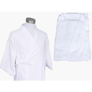 中国製 簡易バスローブ 白 着物衿 四本紐バスローブ 業務用|ryokan-yukata