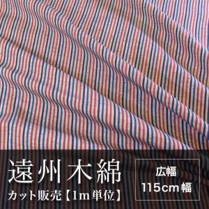 遠州木綿 縞紬 115cm幅 メータ単位で切り分け NO.9柄|ryokan-yukata