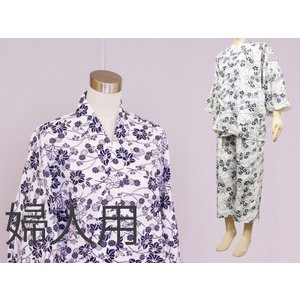 日本製 おくつろぎ着 白紺 和晒し生地使用 花柄作務衣風 婦人用|ryokan-yukata